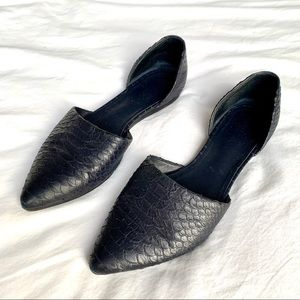 Vince Midnight Blue Snake Embossed Leather Flats